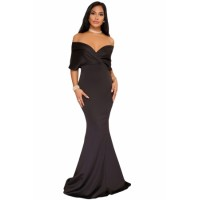 Black Off The Shoulder Mermaid Maxi Dress Red White