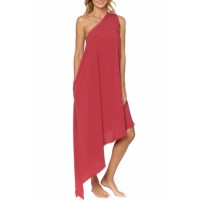 Black One-Shoulder Maxi Cover-Up Dress RED