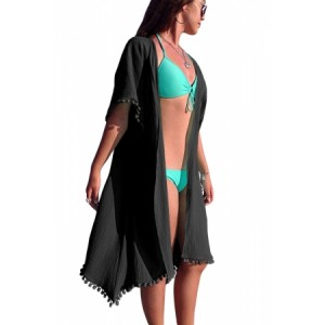 Black Pom Pom Kimono Beach Cover up Sky Blue