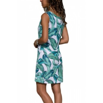 Blue Leaf Print Tank Dress Green