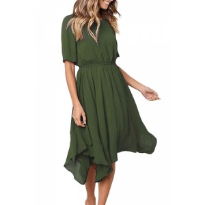 Green Chiffon Irregular Hem Short Sleeve Pleated Dress Blue Red Black
