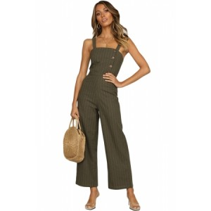 Green Frankie Jumpsuit Pinstripe Black