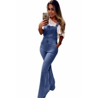 Sky Blue Retro Washed Flared Jeans Overall