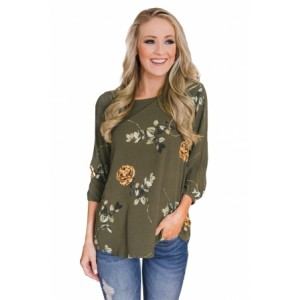Apricot Button up Back Floral Blouse Green