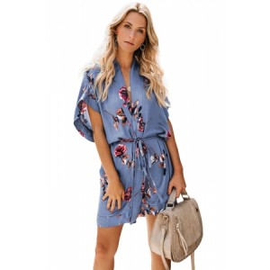 Multicolor Chrysanthemum Kimono Dress Red,Blue,Sky Blue