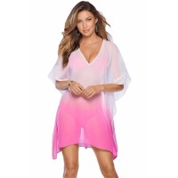 Ombre Rose V Neck Kimono Sleeve Beach Cover up Blue