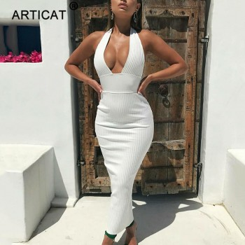 Halter Backless Sexy Knitted Pencil Dress Women White Off Shoulder Long Bodycon Party Dress