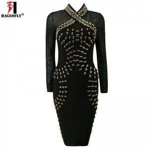 Long Sleeve Bandage Dress Black Beading V-Neck
