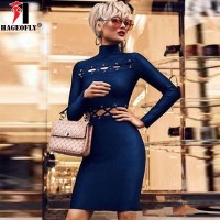 Long Sleeve Bandage Dress Rayon Hollow Out Blue Red