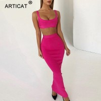 Spaghetti Strap Bodycon Crop Winter Dress Women Two Piece Bandage Pencil Dress