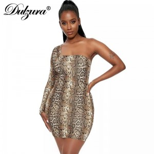 Snake print one shoulder bodycon sexy dress