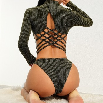 Long Sleeve Solid High Neck Black Knitted Bodysuit Women