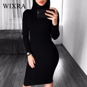 Winter Sweater Knitted Dresses Slim Elastic Turtleneck Long Sleeve