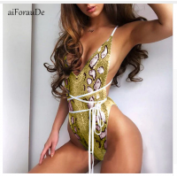 Bandage Snakeskin Print Swimwear Women Summer Bathing Suit Push-Up Padded Swimsuit Backless Monokini 2018 Beach Wear Female