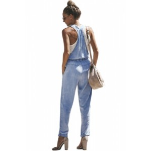 Light Blue Denim Easygoing Drawstring Overalls
