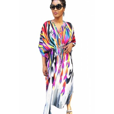 Multicolor Ties Front Kaftan Dress