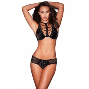 Black Estell a Lace and Velvet Bra Set