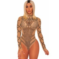 Black Gold Rhinestone Faux Bustier Mesh Long Sleeves Bodysuit Khaki