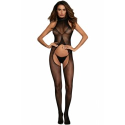 High Neck Lace Collar Bare Back Sheer Bodystocking