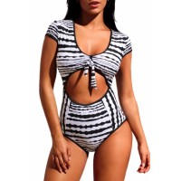 Retro Tie Knot Bow Cutout Cap Sleeve One Piece Swimsuit