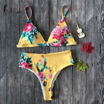 Leopard Bikini High Waist Push Up Swimsuit Female Print Swimwear Yellow Bathing Suit Women Floral Bikini Set