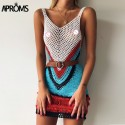 Aproms Bohemian Multi Color-Blocked Women Short Dress Casual Summer Sexy Vneck Sleeveless Tank Dresses Beachwear Sundresses 2020