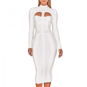 Ocstrade Women White Bandage Dress Bodycon 2020 New Arrivals Sexy Cut Out High Neck Long Sleeve Party Rayon Bandage Midi Dress