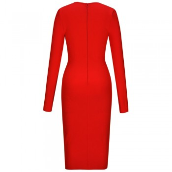 Ocstrade Women Red Bandage Dresses 2020 New Red Deep V Sexy Long Sleeve Bandage Dress Bodycon Celebrity Evening Club Party Dress