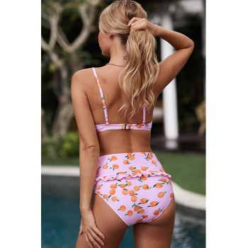 Multicolor Fruit Print Ruffled Detail High Waist Bikini Green Pink Black Sky Blue