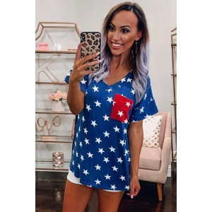 USA Star Print Patch Pocket Blue T-shirt Red