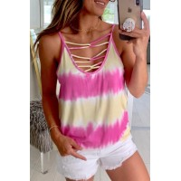 Rose Tie Dye Criss-Cross Camisole
