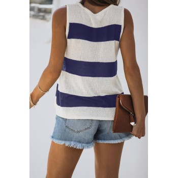 Black Striped V-Neck Knit Tank Red Blue