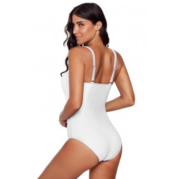 Blue Spaghetti Strap Cross Front One Piece Swimwear Black White