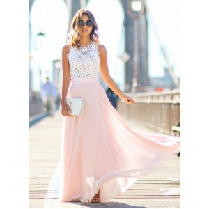 Boho Lace Maxi Dress Ladies Sleeveless Hollow Out Long Sundress Blue Pink Purple