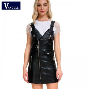Leather Dress Soft PU Faux Leather Dress V Neck Sexy Slim Retro Black Short Mini Dress Black