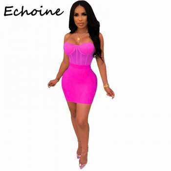 Spaghetti Straps Sheer Mesh Two Piece Set Crop Top + Bodycon Mini Dress Purple Green black Yellow
