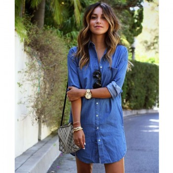 Denim Dresses Pockets Elegant Cowboy Fashion Sexy Lady Slim Shirt Dress Jeans Blue