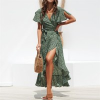 Floral Print Boho Long Chiffon Dress Ruffles Wrap Casual V-Neck Split Black Green