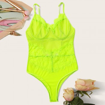Green Lace Bodysuit Women Floral Embroidery Bow Tie Transparent Sexy Bodysuit Jumpsuit Overalls Party