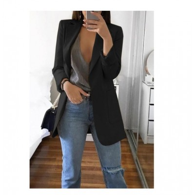 Long Sleeve Solid Color Turn-down Collar Coat Jacket Black Blue Gray Khaki Pink