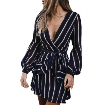 Lantern Sleeve Casual Striped V-Neck Dress Casual Ruffle Mini Blue