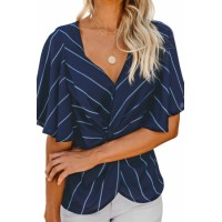 White Twist Front V Neck Blouse Blue Black