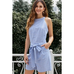Sky Blue Striped Romper Pink Black