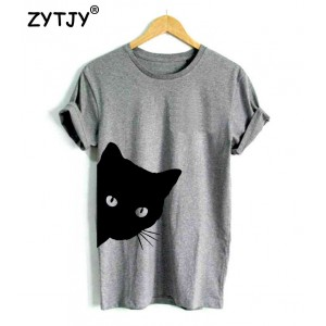 Cat looking out side Print Women t-shirt Cotton Black Gray White