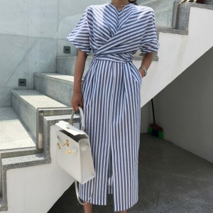 Cotton Blue Striped Bandage Split Long Dress