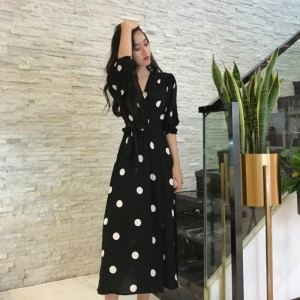 Fashion V-neck Ladies Long Dress Casual Half Sleeve Dot Black