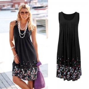 Sleeveless Floral Print Loose Summer Dress Fashion Black Gray Purple Red Yellow