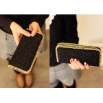 Casual Women's Wallet With Leopard Print Black Chain Design