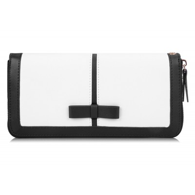 Elegant Women's Clutch Wallet With Color Block and Bow Design