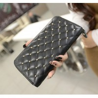 Fashion Women's Clutch Wallet With Black Checked and Rivets Design